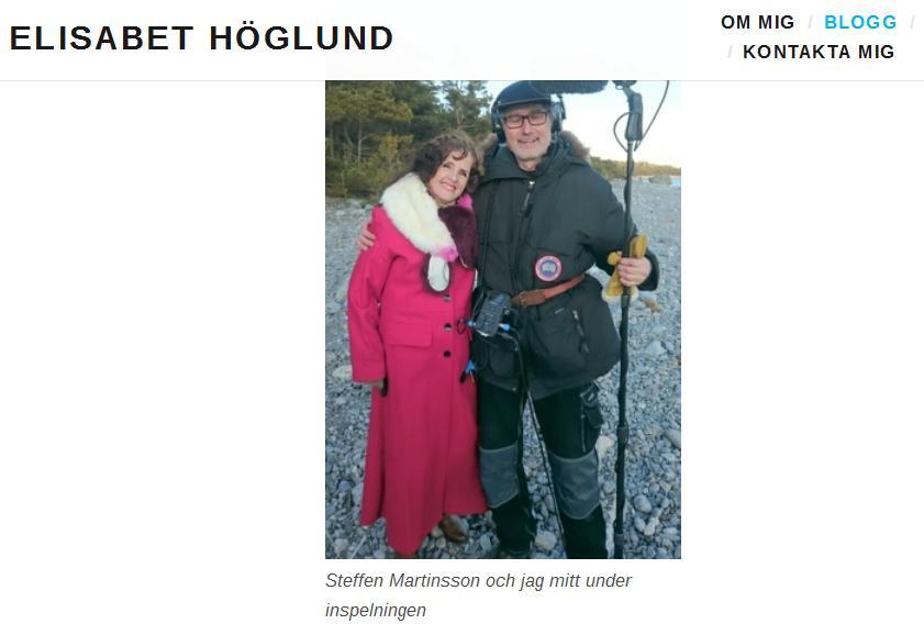 Skärmdump från Elisabet Höglunds privata blogg.