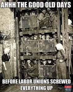 "Foto av ihopträngda koncentrationslägerfångar. Texten: ""Ah the good old days before the unions screwed everything up"""